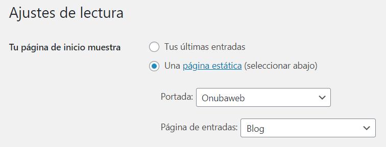 Ajustes de la configuración de la página de WordPress
